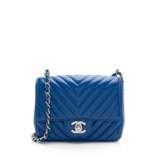 Chanel Chevron Caviar Leather Square Mini Flap Bag