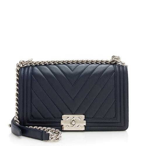 Chanel Chevron Lambskin Boy Medium Flap Bag