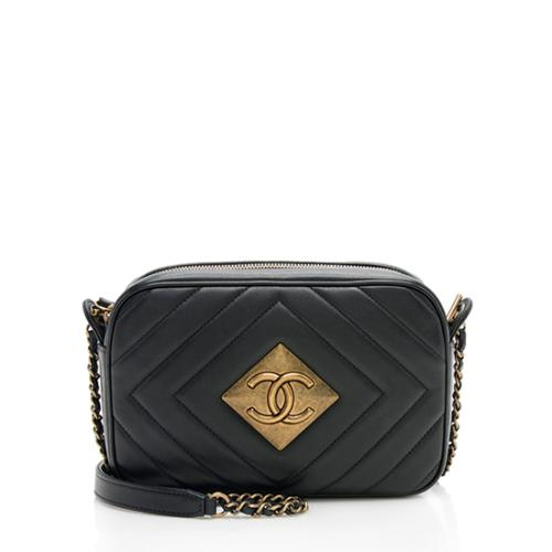 Chanel Chevron Lambskin Pyramid CC Camera Bag