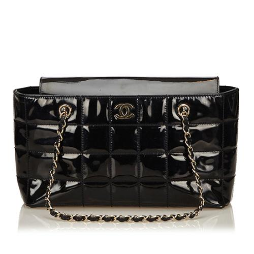 Chanel Patent Leather Chocolate Bar Chain Shoulder Bag - FINAL SALE