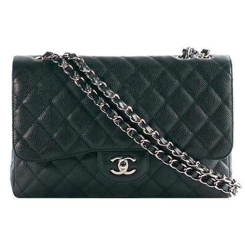 Chanel Classic 2.55 Quilted Caviar Jumbo Flap Shoulder Handbag