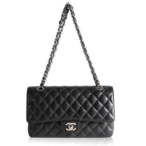 Chanel Classic 2.55 Quilted Caviar Leather Flap Medium Shoulder Handbag