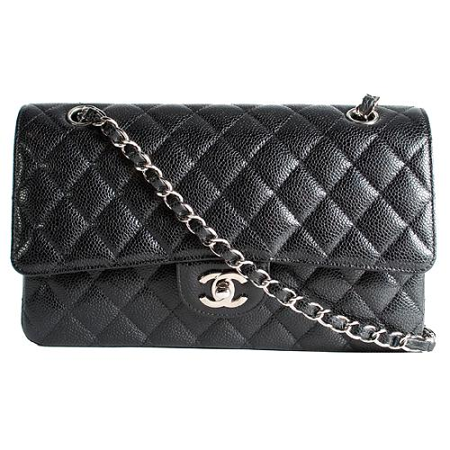 Chanel Classic 2.55 Quilted Caviar Leather Flap Medium Shoulder Handbag