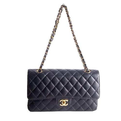 Chanel Classic 2.55 Quilted Caviar Leather Flap Small Shoulder Handbag
