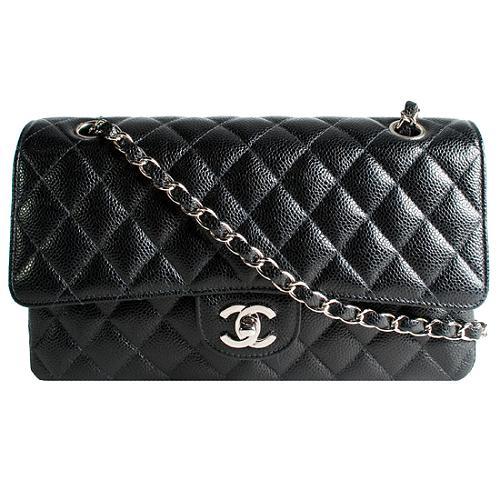 Chanel Classic 2.55 Quilted Caviar Medium Double Flap Shoulder Handbag