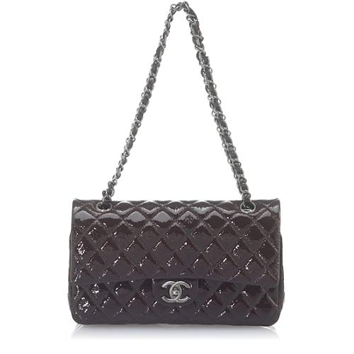 Chanel Classic 2.55 Quilted Patent Leather Medium Flap Shoulder Bag