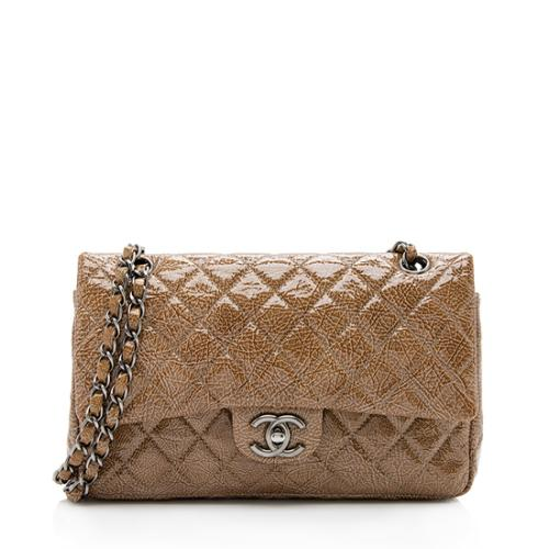 Chanel Crinkled Patent Leather Classic Medium Double Flap Bag