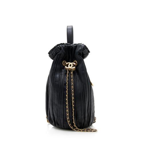 Chanel Crumpled Calfskin Coco Pleats Drawstring Shoulder Bag