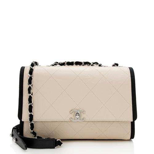 Chanel Crumpled Calfskin Grosgrain Flap Bag