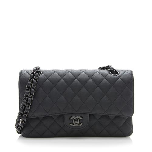 Chanel Crumpled Calfskin So Black Classic Medium Double Flap Bag