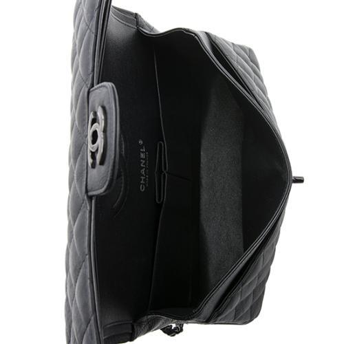 208a0f732ade Chanel Crumpled Calfskin So Black Classic Medium Double Flap Bag