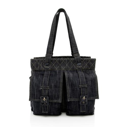 Chanel Denim Double Pocket Tote