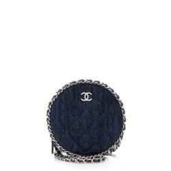 Chanel Denim Round Clutch with Chain