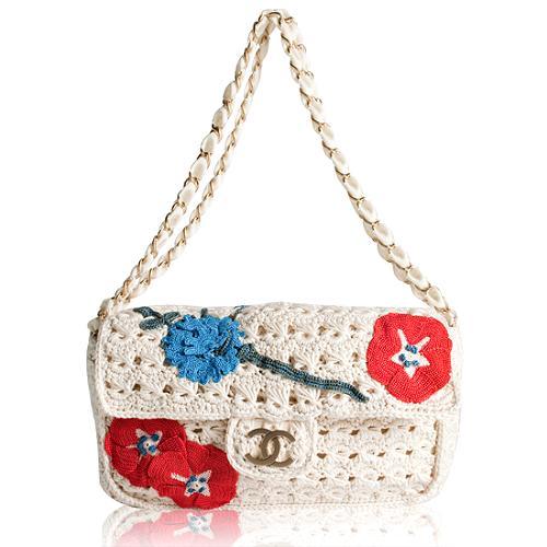 Chanel Embellished Crochet Flap Shoulder Handbag
