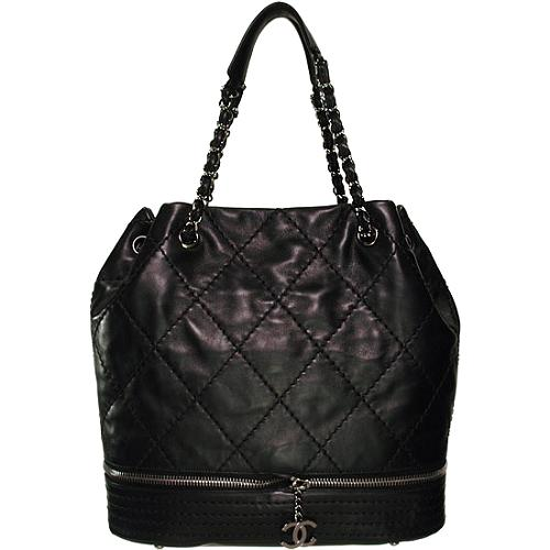 Chanel Expandable Quilted Drawstring Tote