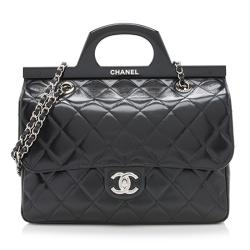 Chanel Glazed Calfskin CC Delivery Small Shopping Tote
