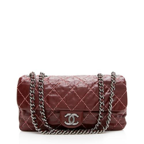Chanel Glazed Calfskin Double Stitch Flap Shoulder Bag