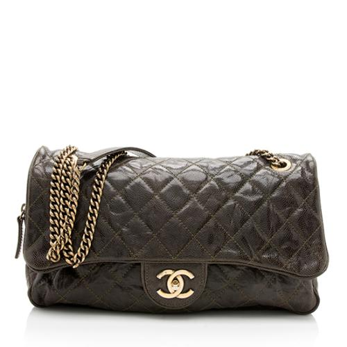 Chanel Glazed Calfskin Shiva Large Flap Shoulder Bag