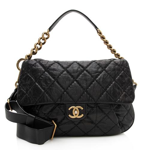Chanel Glazed Caviar Coco Pleats Messenger Bag