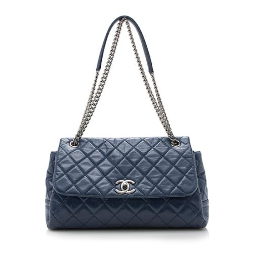 Chanel Glazed Leather Trapeze Flap Bag