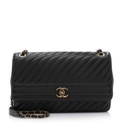 Chanel Goatskin Diagonal Large Flap Bag