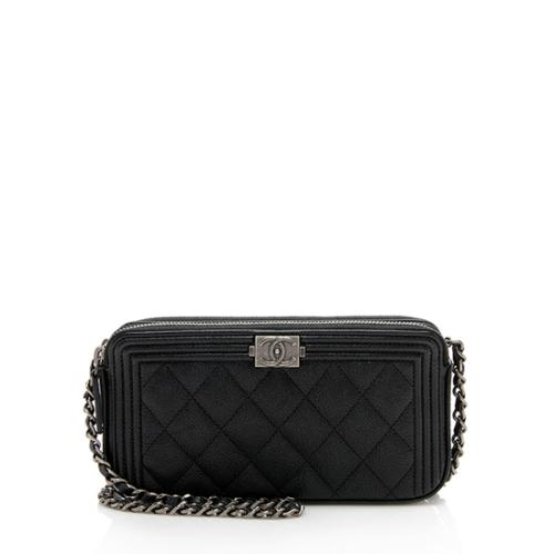 Chanel Grained Calfskin Boy Chain Clutch with Chain