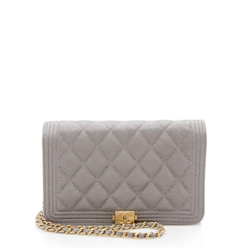 Chanel Grained Calfskin Boy Wallet on Chain Bag