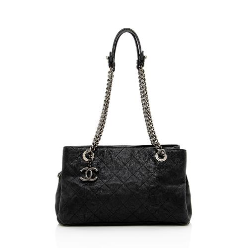 Chanel Grained Calfskin Chain Pocket Small Tote