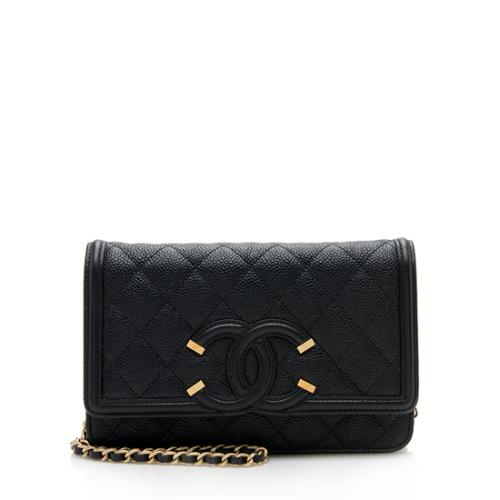 Chanel Grained Calfskin CC Filigree Wallet on Chain Bag