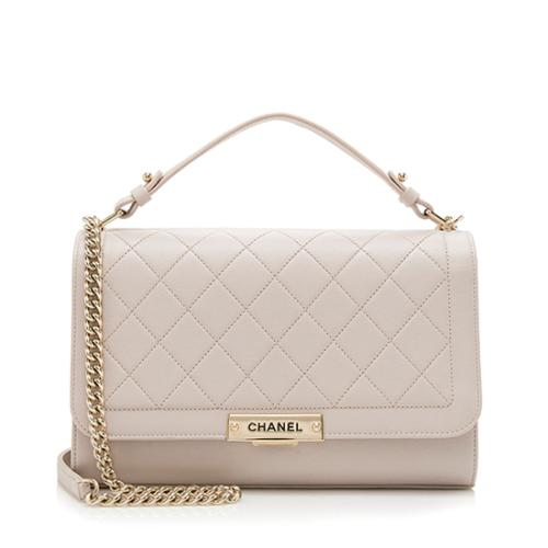 Chanel Grained Calfskin Label Click Large Shoulder Bag