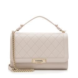 Chanel Grained Calfskin Label Click Large Shoulder Bag