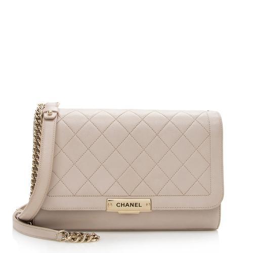 Chanel Grained Calfskin Label Click Large Shoulder Bag - FINAL SALE
