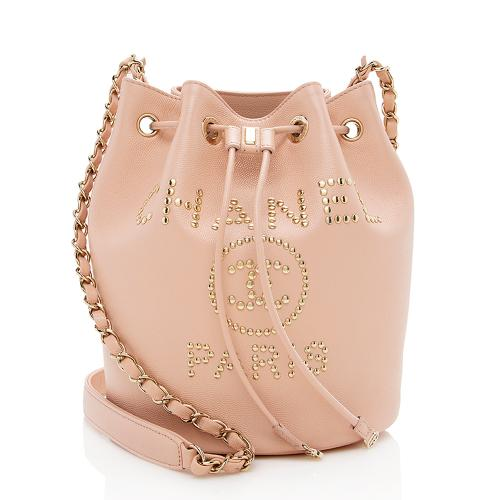 Chanel Grained Calfskin Studded Deauville Drawstring Medium Shoulder Bag