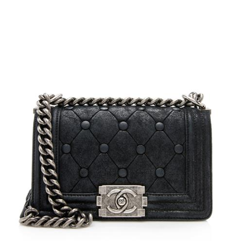 Chanel Iridescent Calfskin Chesterfield Padding Small Boy Bag