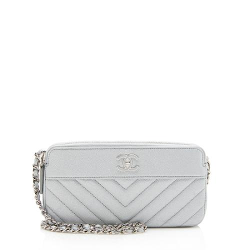 Chanel Iridescent Caviar Leather Vintage Mademoiselle Clutch with Chain