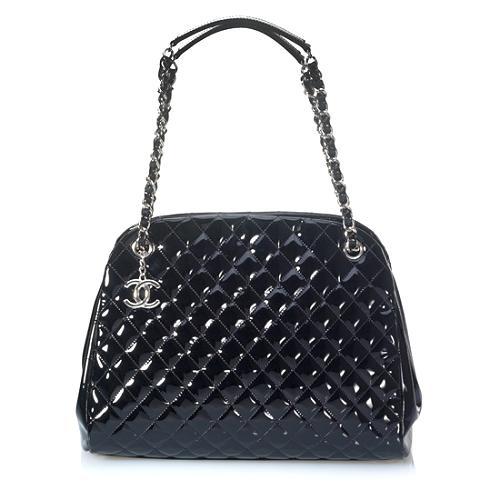 Chanel Just Mademoiselle Large Patent Bowler Satchel Handbag