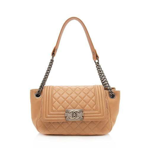 Chanel Lambskin Accordion Boy Chain Shoulder Bag