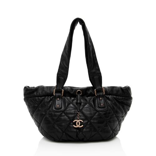 Chanel Lambskin Bubble Quilted Drawstring Shoulder Bag