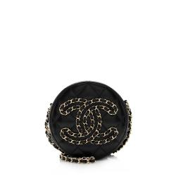 Chanel Lambskin CC Round Clutch with Chain