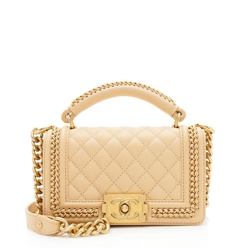 Chanel Lambskin Chain Top Handle Small Boy Bag