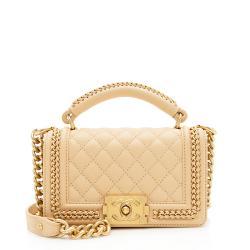 Chanel Lambskin Chain Top Handle Small Boy Bag