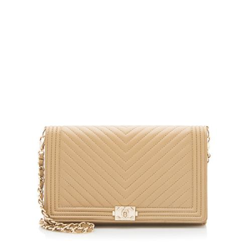 Chanel Lambskin Chevron Boy Wallet On Chain Bag