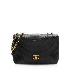 Chanel Lambskin Half Moon Vintage Single Flap Shoulder Bag