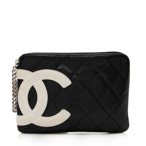 Chanel Lambskin Ligne Cambon Zip Pouch