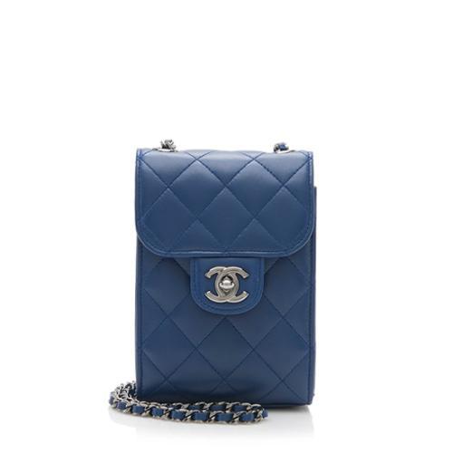Chanel Lambskin Phone Holder Crossbody Bag