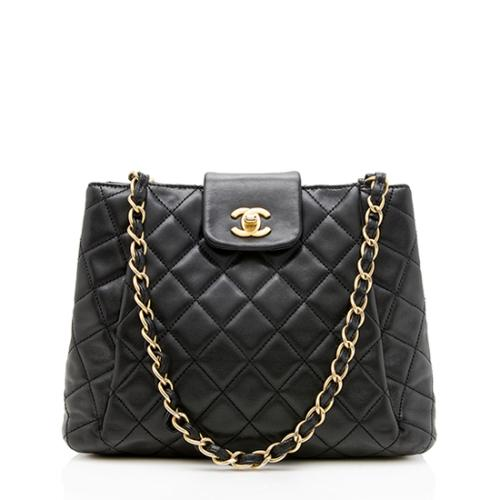 Chanel Lambskin Pleated CC Chain Shopping Tote