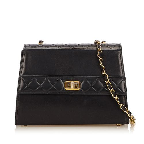 Chanel Vintage Quilted Lambskin Mademoiselle Trapezoid Flap Bag