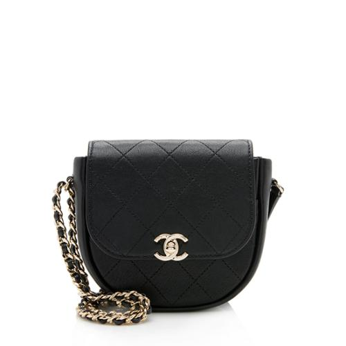 Chanel Lambskin Stitched Small Flap Messenger Bag