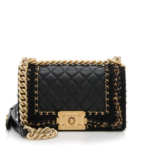 Chanel Lambskin Tweed Chain Small Boy Bag