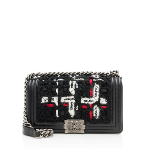 Chanel Lambskin Woven Ribbon Small Boy Bag